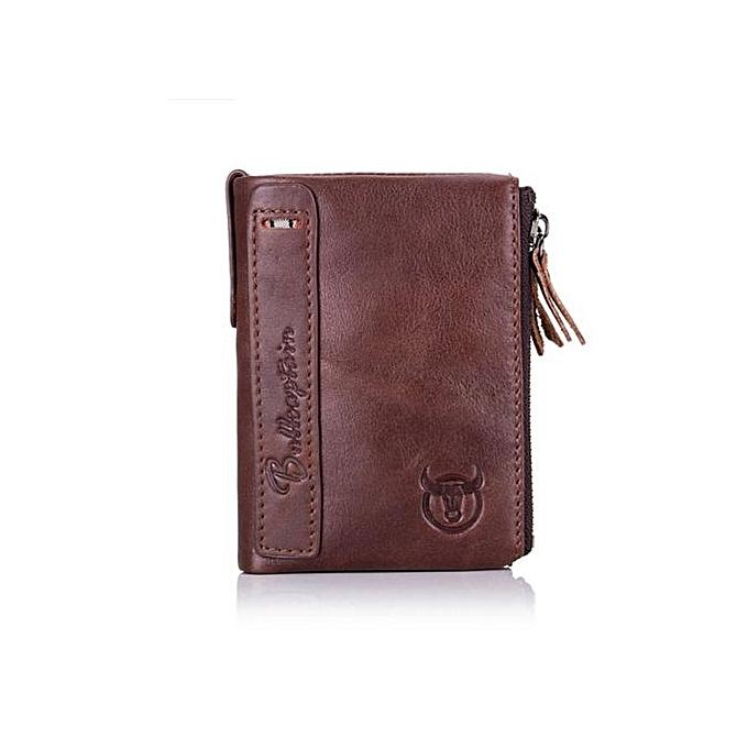 Bullcaptain Vintage Genuine Leather Card Holder 2 Zipper Pockets Coin Bag Fashion Wallet For Men
