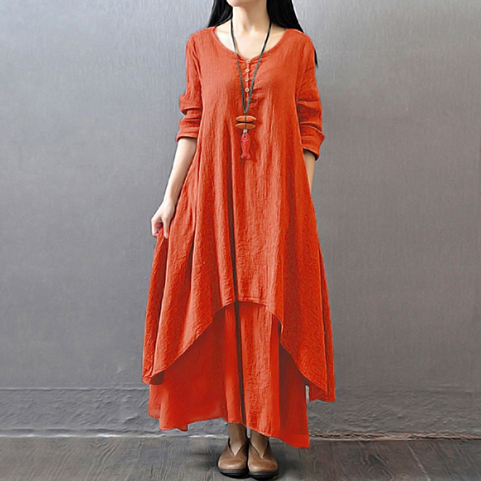 9c0f83694371 New Fashion Women Casual Loose Dress Solid Color Long Sleeve Boho Long Maxi  Dress ...