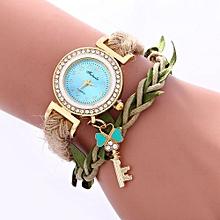 Women Ladies Casual Leaves Braided Rope Strap Quartz Wrist Watch LB