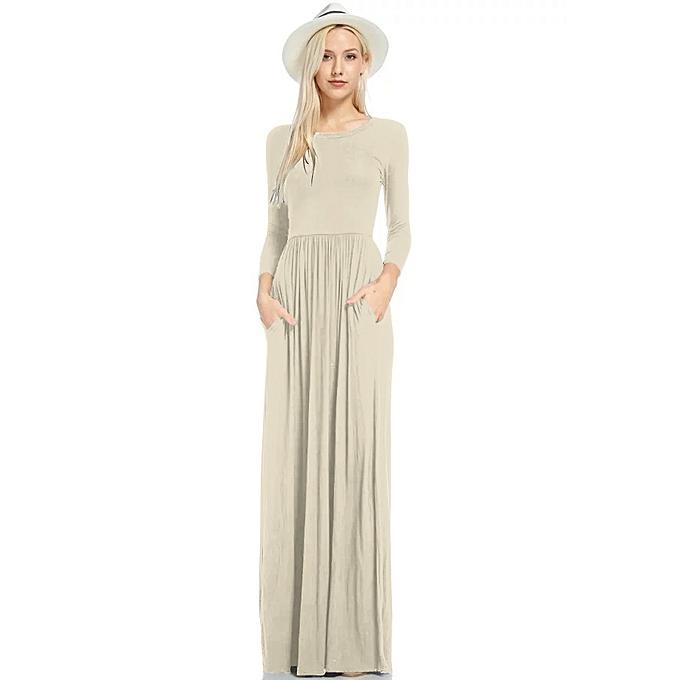 de1e0db63ae32 Autumn Winter Women's Long Sleeve Dress Pockets Pleated Loose Swing Casual  Maxi Dress Robe Tunic Long