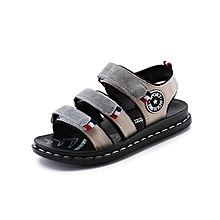 Leather Open Grey Boys' Sandals with rubber soles.