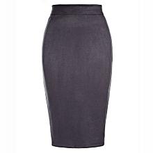 Female High Waist Knee Length Pencil Skirt - Dark Grey