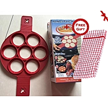1PC New Silicone Non Stick Pancake Mold + FREE Gift Kitchen Towel.