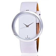 Unique lady quartz watch with leather strap