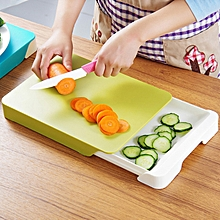 Chopping Board with Integrated Drawer for Receiving - Green