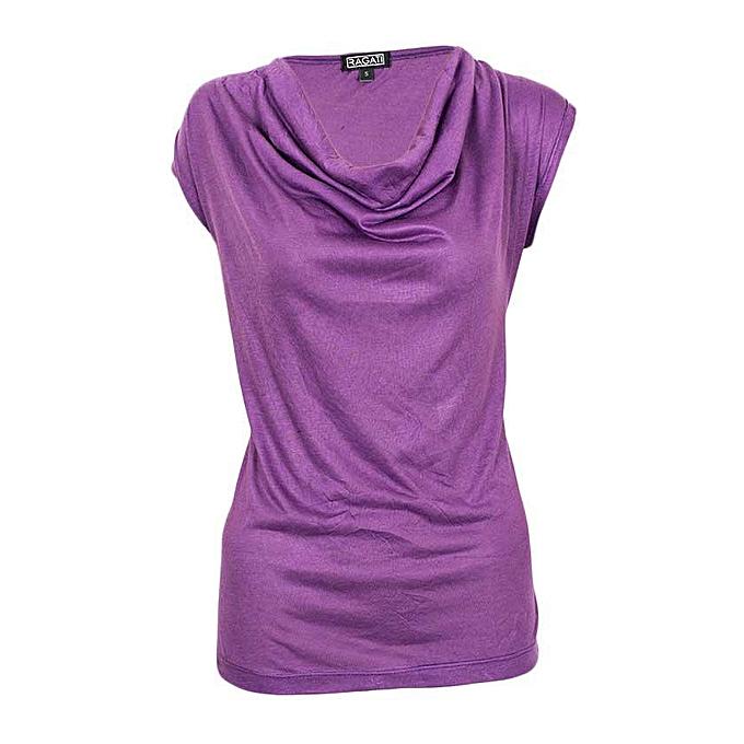 fbba42b2f2592 Generic Purple Cowl Neck Sleeveless Top   Best Price