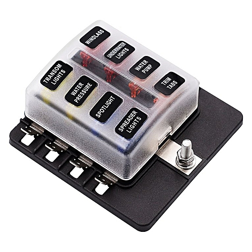 Car Modified 8-Way Fuse Box With LED Indicator Light PC Wiring Terminal on