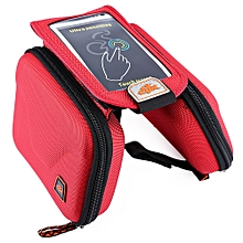 CBR B2 - 2 EVA Outdoor Portable Front Beam Bag Touch Screen Pouch for Bicycle Bike Cycling Red
