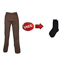 Brown Khaki Pants with FREE socks
