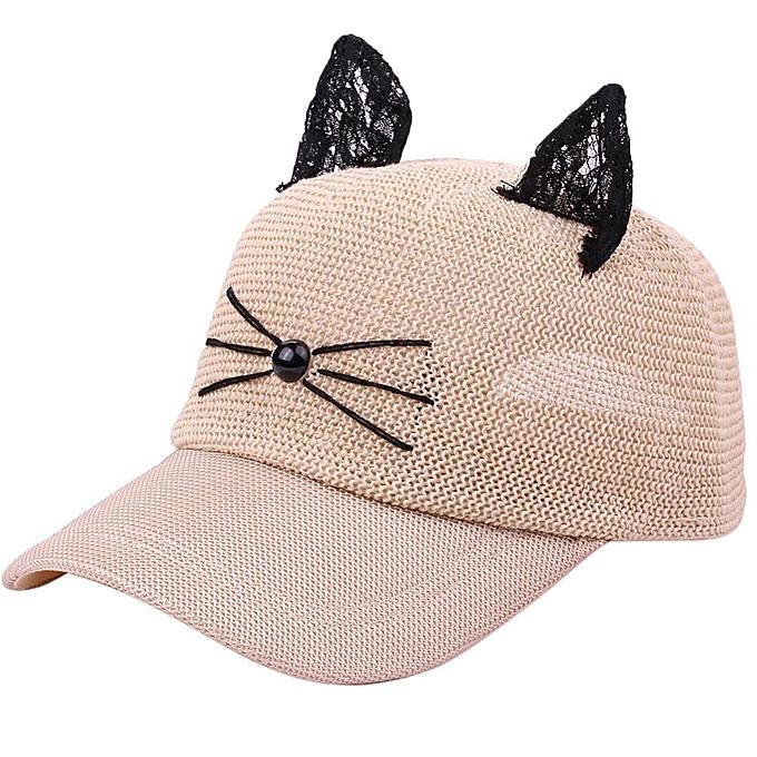 687ec81c0b452 Fashion Zetenis Women Men Cat Adjustable Linen Baseball Mesh Cap Hat ...
