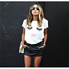 YOINS Women White Casual Eyelash & Lip Printing Round Neck T-shirt S-L