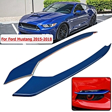 Ford Mustang 2015-2016 ABS Carbon Fiber Style Front Fog Light Eyebrow Cover Trim #Blue
