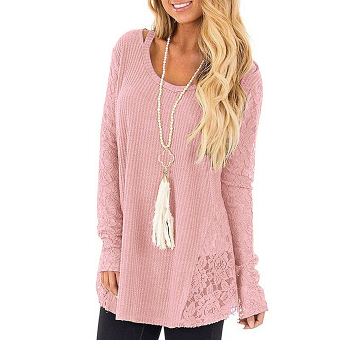 Fashion Huskspo Women Lace Patchwork Sexy Long Casual Sleeve Knitted