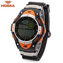 H013B Children LED Digital Watch Calendar Alarm Chronograph Display Sports Wristwatch-Orange-Orange
