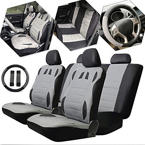 13pc Car Seat Covers Set PU Leather Front Rear Mats Steering Wheel Cover Cushion