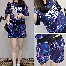 New Women's Fashion T-Shirts Tops+Shorts Casual Sports Short Set Outfits 2 Pieces-Blue (M-XXL Size)