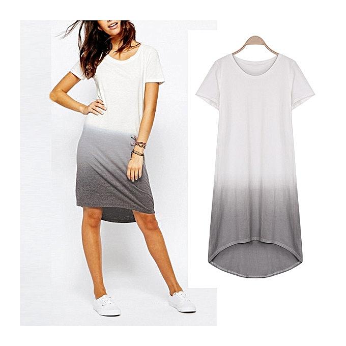 d1052512b1 ZANZEA Summer Shirt Dress Women Cotton O Neck Short Sleeve Loose Gradient  Swallowtail Casual Party Vestidos