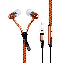 3.5mm In-ear Zipper Earphone Stereo Headset Handsfree Headphone With Mic Luxury Orange