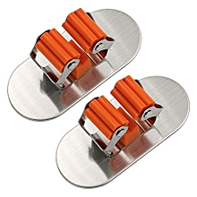 2 Pieces Self Adhesive Brushed Stainless Steel Mop And Broom Holder Organizer Rack (oval)