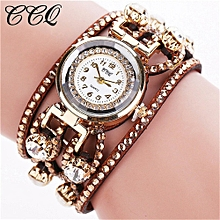 guoaivo CCQ Brand Vintage Bracelet Watch Women Wristwatch Quartz  -Brown