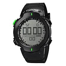 HONHX Africashop Watch  Fashion Waterproof Men's Boy LCD Digital Stopwatch Date Rubber Sport Wrist Watch-Green