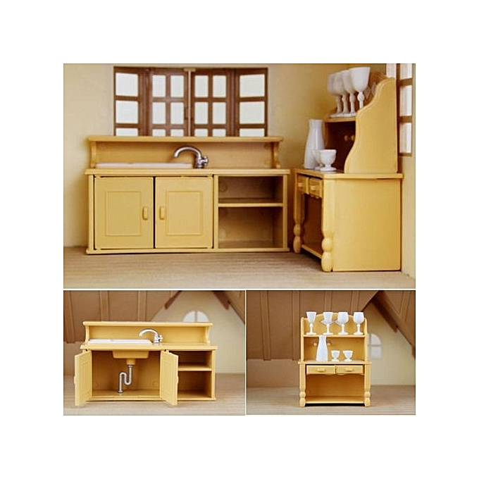 Kaka Pvc Kitchen Furniture: UNIVERSAL Cabinets Plastic Kitchen Miniature DollHouse