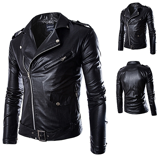 street style locomotive leather coat for men slim-type lapel collar british  tide leather jacket 5ca66a5776db4