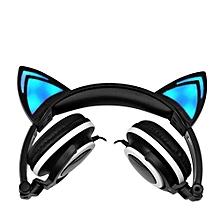 Foldable Flashing Glowing Cat Ear Headphones Wired Video Gaming Headset Hifi Stereo Mp3 Music Player Walkman Earphone Black