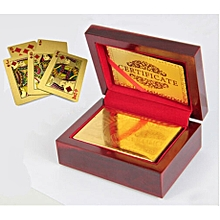 24K Karat Plated Poker Playing Card with Box - Golden