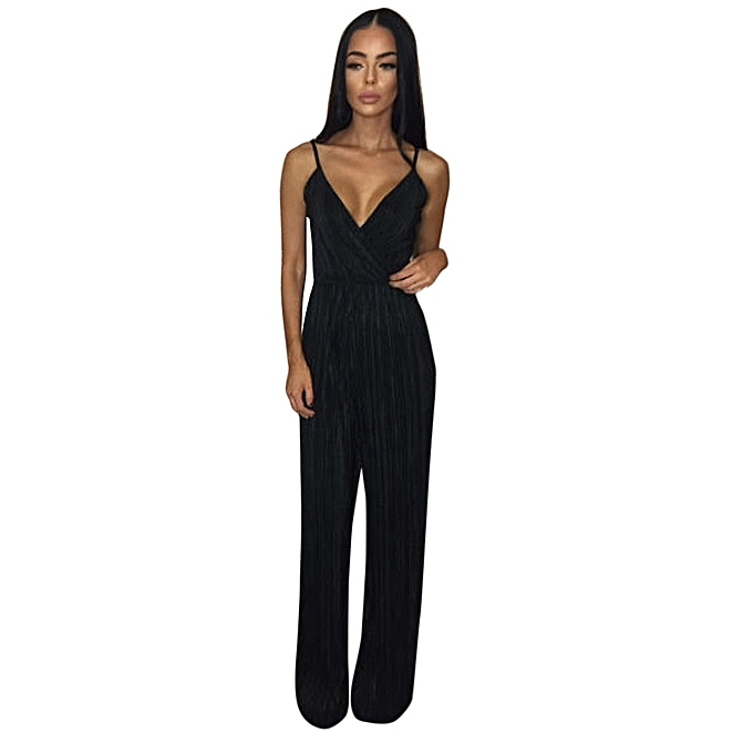 62e55b0bbbc jiuhap store Womens V-Neck Jumpsuit Ladies Evening NightOut Party Playsuit  BK L-Black