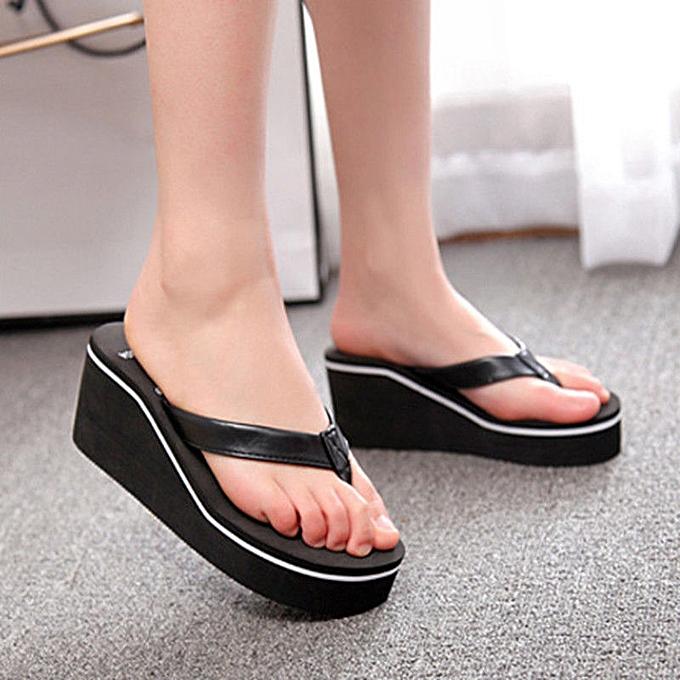 ee0ab4e4c014 Nis Women Wedge Thong Flip Flops Platform Mid Heel Sandals Beach Casual  Shoes