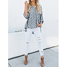 Womens Oversize Vintage V Neck Stripe Tops Ladies Loose Shirt Tunic Baggy Blouse