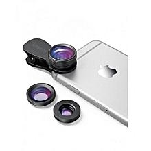 3 in 1  Phone Camera Lens Attachments – 180° Fisheye, 0.65x Wide Angle,  10x Macro
