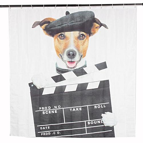 Generic 180180cm Dog Bathroom Shower Curtain Waterproof 12 Free Hooks Best Price