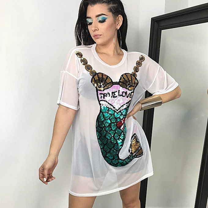 48cd5e20b3 Sexy Women Summer Sequin Mermaid Semi-sheer Mesh Dress See Through Short  Sleeve O Neck Beach Outfits Dress Black/White