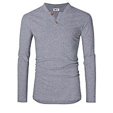 MrWonder Men's Casual Slim Fit Long Sleeve Henley Shirts Plain Tees Shirt Color:Light Gray Size:M