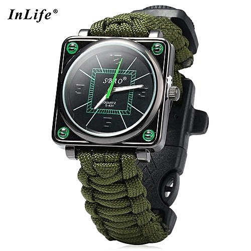 Inlife Inlife Outdoor Suvival Paracord Watch With Fire Starter Compass  Whistle Rescue Bracelet 370fc53b3bf