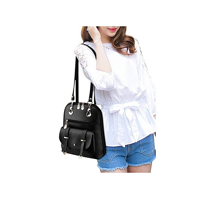 08e41fcc6ac9 Women s Casual Backpack Concise Preppy Style PU Leather Shoulder Bag with  Bear Pendant