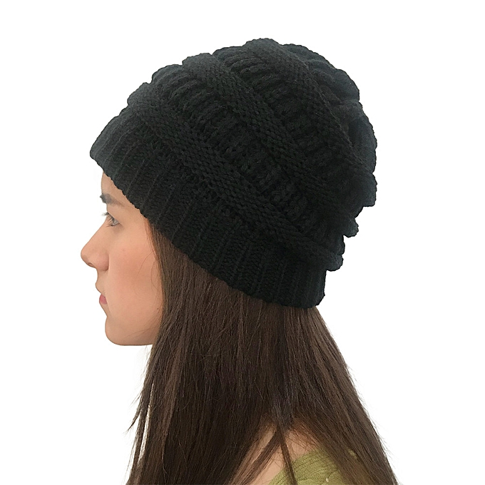 106b64888 Wenrenmok Store Men Women Autumn Winter Outdoor Warm Hats Crochet Knit  Holey Beanie Cap-Black