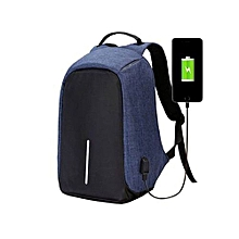 Anti-theft USB Charging Port Laptop Backpack -Blue