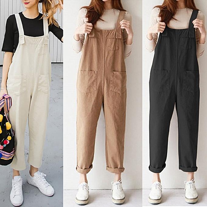ed953a0f454 ... ZANZEA Women Long Dungarees Suspenders Bib Pants Playsuit Jumpsuit  Overalls ...