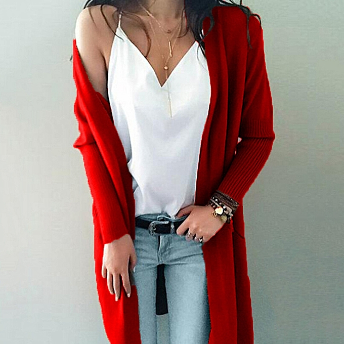 dc8c72ced1c0 jiuhap store Women Winter Long Sleeve Solid Pockets Knitted Long Sweater  Coat Tops Blouse-Red