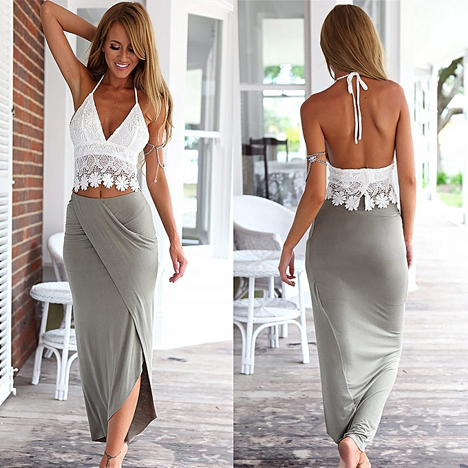 8a6896b486e Xiuxingzi Womens Bodycon Slim Bandage Two Piece Crop Tops and Skirt Dress  Set