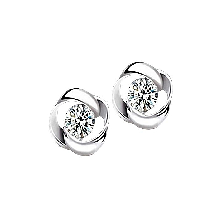 1pair Beautiful Silvering Crystal Shiny Ear Stud Earrings Women Fashion