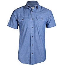 Zecchino Blue Chambray Men's Short Sleeved Shirts.