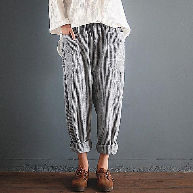 bdd7ed3126b88 ZANZEA Fashion Women High Elastic Waist Pockets Wide Leg Pantalon Leisure  Retro Cotton Linen Baggy Striped