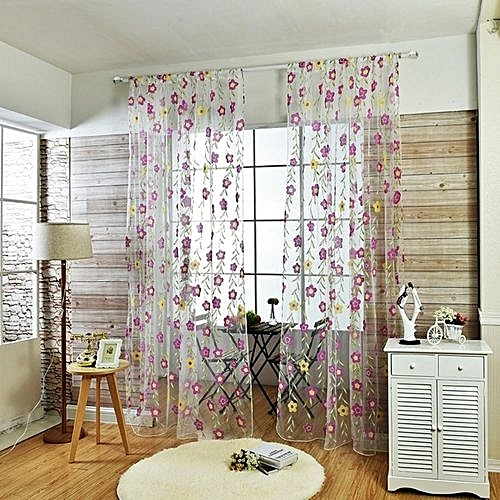 Light Green Sheer Curtains Living Room Floral Window Decoration 100200cm