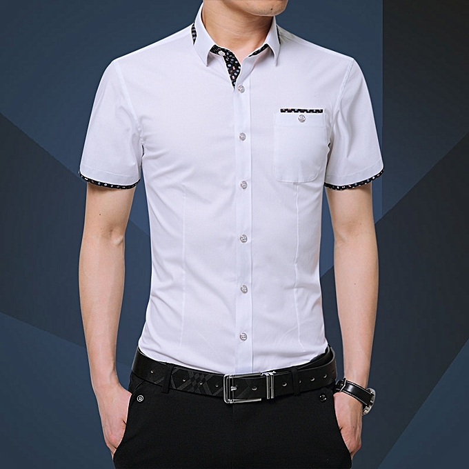 f4fcae363556 Tauntte Men's Shirts Short Sleeve Slim Fit Business Formal Shirts ...