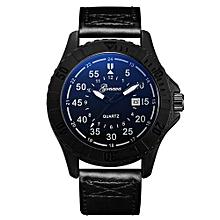 Olivaren GONEWA Mens Quartz Wrist Watch Analog Date Day Army Sport Leather LuxuryBlack