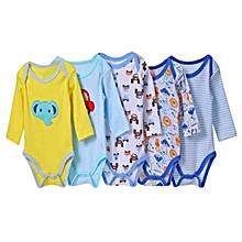 Carter's 5 Pack Assorted Boys Long Sleeved Cotton Bodysuit-Different colors